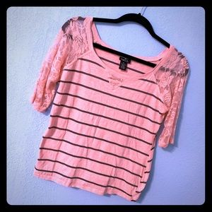 Rue21 Pink Stripped Lace Top